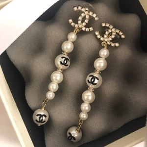 Authentic CHANEL METAL GLASS PEARLS Earrings